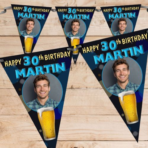 Personalised Mens Beer Larger Happy Birthday Flag PHOTO Bunting Banner - N71 ANY AGE
